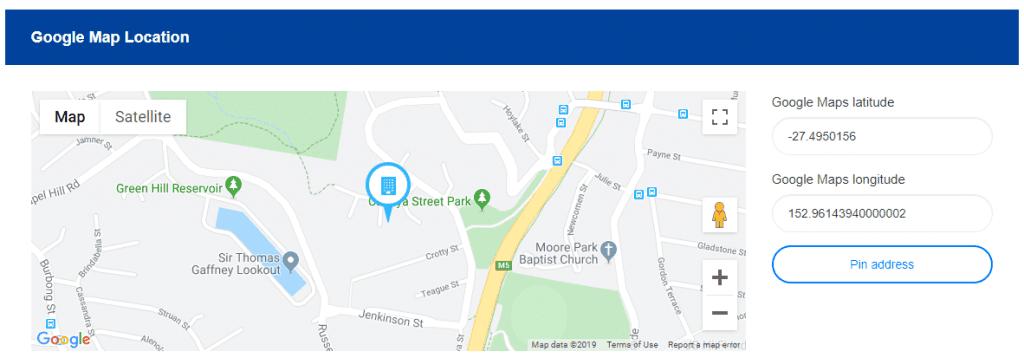 Google map pin address fields