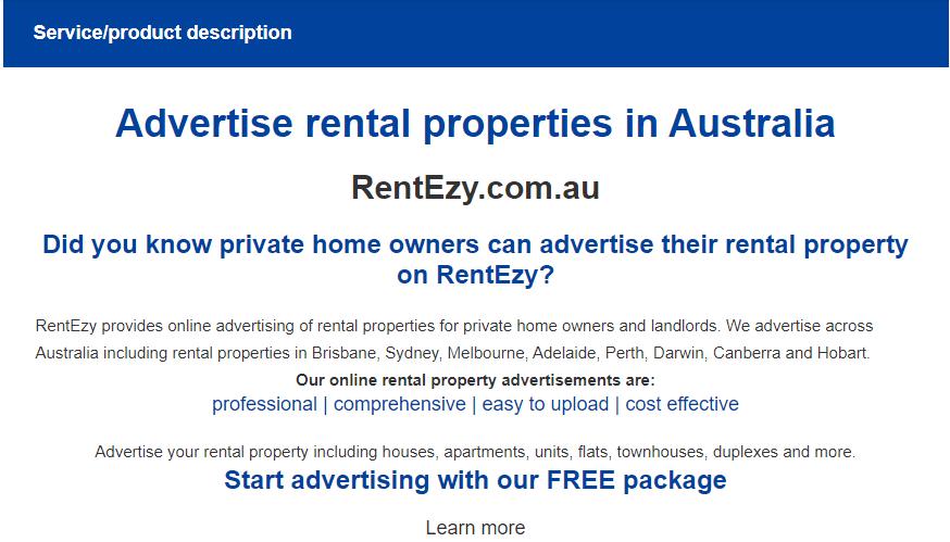 Service description in business ad