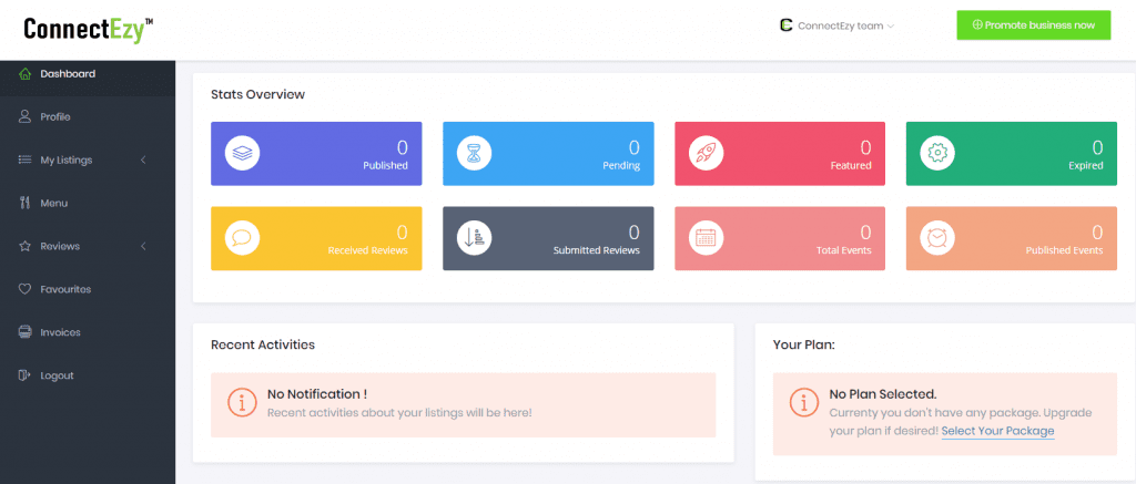 ConnectEzy User Dashboard